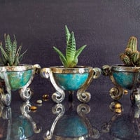 ceramic raku planter for succulents - small planter