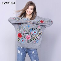 flower sweater women embroidery sweater pullover jumper large oversized sweater knitted warm casual knitwear winter 2017