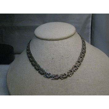 "Vintage Danecraft Sterling Silver Necklace, 15.5"", 8mm wide, Scrolled Detailed, 1940's/1950's"