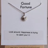 Graduation gift idea - Matte Silver Fortune Cookie Pendant Necklace with a message Rhodium ball chain Lucky, good luck charm, jewelry gift