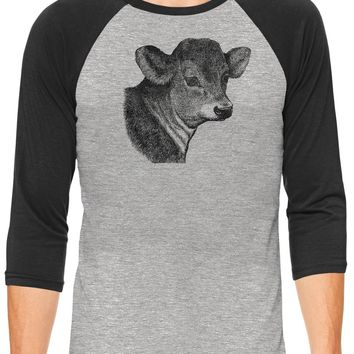 Austin Ink Apparel Baby Calf Face Grey Unisex 3/4 Sleeve Baseball Tee