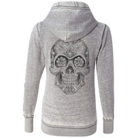 Stylish Hooded Long Sleeve Solid Color Skull Pattern Women's Hoodie