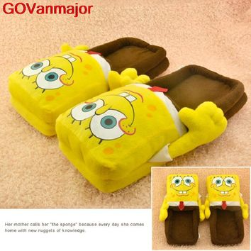 Winter Sponge Bob Cotton Warm Slippers Christmas Gift 2015 Women Home Indoor Slippers Unsix Cute Shoes