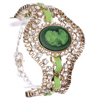 Green Victorian Style Box Chain Bracelet
