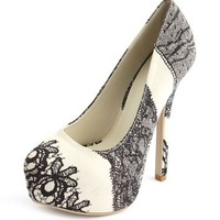 Lace Print Almond Toe Pump: Charlotte Russe