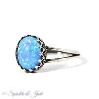 Sterling Silver Blue Oval Opal Antiqued Crown Set Ring