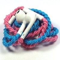 MyBuds Wrapped Tangle-Free Earbuds for iPhone | | with Microphone and Volume Control Pink & Turquoise