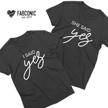 Engagement shirts, Couples engagement shirts, She said yes shirt, Wedding shirts, Engagement gift idea, Wedding outfit idea