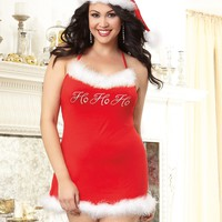 Plus Size Flirty Soft Jersey Knit Santa Chemise