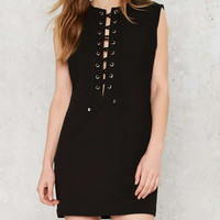 Fashion Casual Hollow Crisscross Bandage Solid Color Sleeveless Mini Dress
