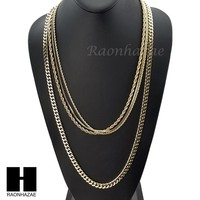 "HIP HOP 14K GOLD PT 4 CHAINS ROPE, BOX, 30"" CUBAN LINK NECKLACE CHAIN SET GN158G"