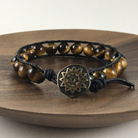 Tigers Eye Beaded Wrap Bracelet