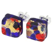 Venetian Reflections Square Stud Earrings - Blue Red