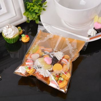 MJARTORIA 50PCs New Self Adhesive Seal Plastic Bags Floral Cake Pouch Jewelry Bag Storage Jewelry Package Gift Bag 14.8cmx10cm