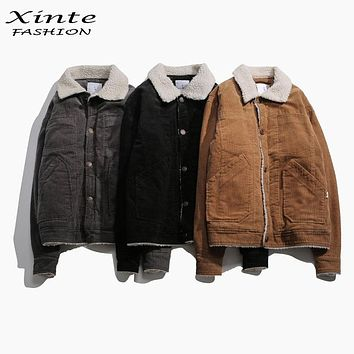 Xinte Fashion 2016 Winter Jackets Corduroy Warm Jacket Cotton Padded Coat lambswool Collar Outwear