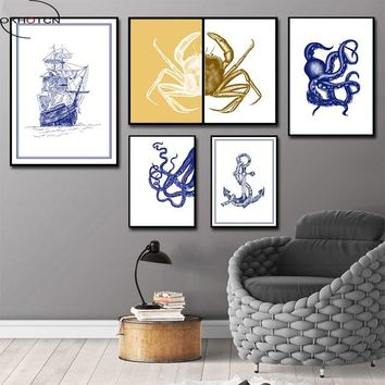 OKHOTCN Nautical Sail Boat Octopus Crab Canvas Painting Wall Art Blue Pictures Posters Prints Nordic for Kids Rooms Home Decor
