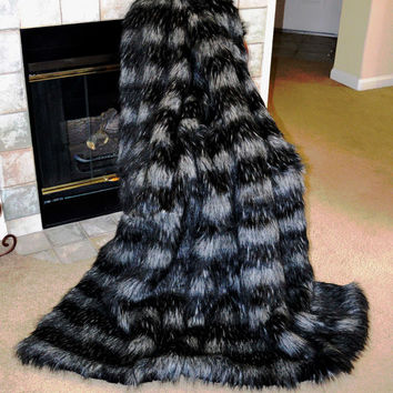 Faux Fur Throw, Black Silver Faux Fur, Fake Fur Blanket Throw, Animal Print, Ready to Ship!