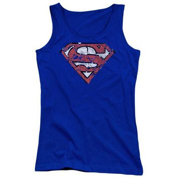 ac NOOW2 Superman - Ripped And Shredded Juniors Tank Top