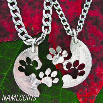 Puppy Paws Dog Necklace Set, Interlocking Relationship cut coin, necklace, key chain, or collar tag