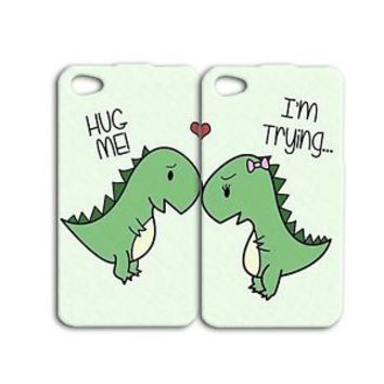 Cute Funny Best Friends Dinosaur Pair Case For Apple iPhone 4 4s 5 5c 5s 6 Cool
