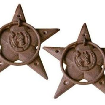 Cast Iron Star Horsehead Towel Ring -Set Of 2