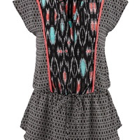 Chiffon V-Neck Tied Waist Top - Multi