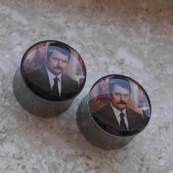 "Ron Swanson Plugs - One PAIR - Sizes 2g, 0g, 00g, 7/16"", 1/2"", 9/16"", 5/8"", 3/4"", 7/8"", 1"" - Made To Order"