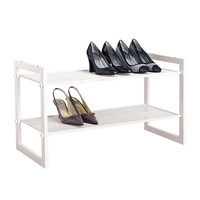 White 2-Tier Stackable Mesh Shoe Shelf