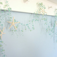 Beach Decor Starfish Beaded Garland - AQUA Nautical Garland, Bead Plus White Star Fish, 5FT