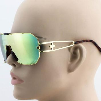 Elite Mens Womens Oversized Flat Top Shield Aviator Mirrored Lens Sunglasses