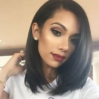 Silk Straight 100% Brazilian Human Hair Lace Front Wig Bob Style with Baby Hair