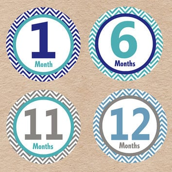 Baby Boy Month Milestone Stickers - DIY Printables