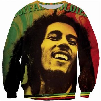 New Women/Men Sweatshirts Print Reggae Star Bob Marley 3d hoodies Hipster Crewneck pullovers casual Clothing Jumper Unisex tops