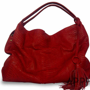 Burla Genuine Exotic Python Leather Handbag in Natural Color/ Red / Black with Mini Multifunction Purse