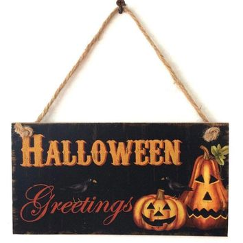 Halloween Party Decoration Supplies Rustic Wooden Plaque Pumpkin Wall Sign Hanging Board Halloween Party Favor Gifts FES0971