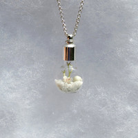 Terrarium Pendant Necklace, Cognac Vial, in Winter White, Glass Pendant, White Flower Necklace