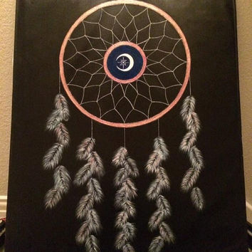 Blacklight (Ultraviolet) Dreamcatcher Acrylic Painting
