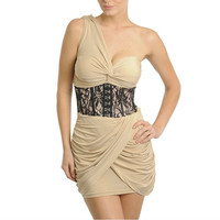 One Shoulder Draped Corset Dress in Beige & Black