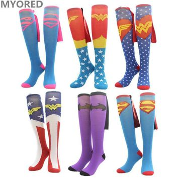 Batman Dark Knight gift Christmas MYORED cartoon superman batman Cape Socks cotton knee high long sock men women superheroes cloak sokken unisex halloween socks AT_71_6