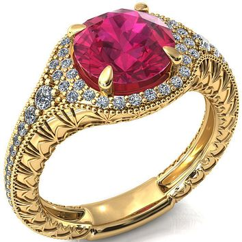 Kylee Round Ruby Accent Diamond Milgrain and Filigree Design 4 Prong Engagement Ring