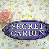 Secret Garden Gate Wall Plaque Sign Cast Iron French Lavender Lilac Purple Letters White Oval Oblong Ornate Scroll Accented Wall Door Sign