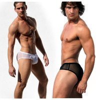 RUFSKIN CAMERON SEMI-SHEER BRIEF WITH BULGE FRONT POUCH SHEER BEHIND