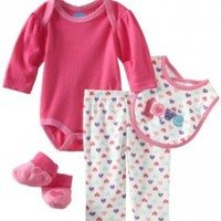 Bon Bebe Baby-girls Newborn Love 4 Piece Pant Set, Hot Pink/Cream, 6-9 Months