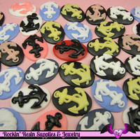 6 pc BOAT ANCHOR Mix 25x18mm Resin Cameos Flatback Cabochons