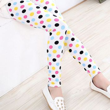 Black Pink Yellow Blue Polka Dot Leggings