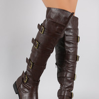Buckle Strapped Riding Over-The-Knee Boots