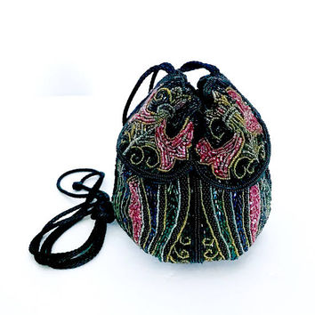 Flapper Style Beaded Drawstring Evening Bag, Intricate Glass Beads, Black Red Blue Green, All Over Pattern, Handmade, Vintage Gift for Her