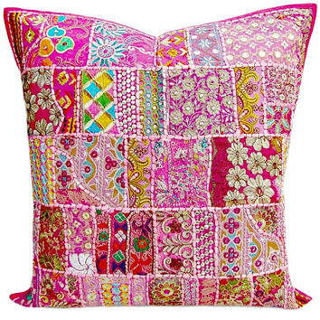 """24"""" Extra Large Pink Gypsy Throw Pillow for Couch, Decorative Accent Pillow, Patchwork Cushion Cover, Ethnic Indian Pillow Cottage, Pillow"""