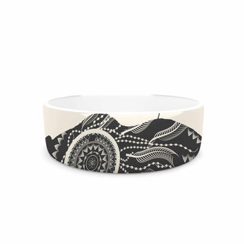 "Famenxt ""Boho Ornate Bear"" Beige Black Pet Bowl"