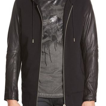 Men's DIESEL 'L-Mifun' Hooded Knit Jacket with Leather Sleeves,